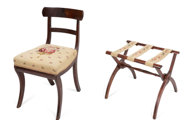A Needlepoint Upholstered Mahogany Side Chair and Luggage Rack