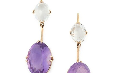 A PAIR OF ANTIQUE AMETHYST AND ROCK CRYSTAL EARRINGS in