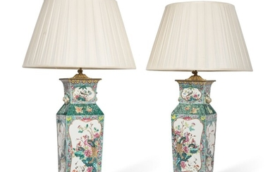A PAIR OF CHINESE FAMILLE ROSE PORCELAIN VASES, MOUNTED AS LAMPS, LATE 19TH/20TH CENTURY