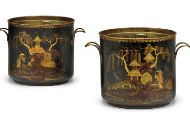 A PAIR OF FRENCH TOLE PEINTE CACHE-POTS, POSSIBLY SECOND HALF 18TH CENTURY