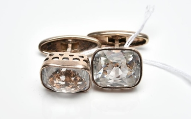 A PAIR OF RUSSIAN ROCK CRYSTAL CUFF LINKS IN SILVER GILT
