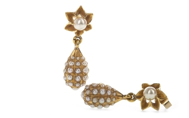 A PAIR OF VICTORIAN STYLE EARRINGS