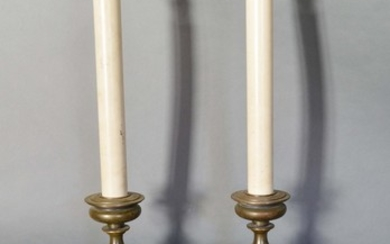 A Pair of 18th Century Style Table Lamps in the form of cand...