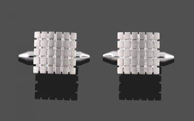 A Pair of 9 Carat White Gold Diamond Cufflinks, the...