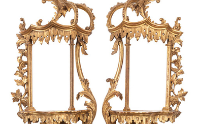 A Pair of Chinese Chippendale Style Giltwood Wall Brackets