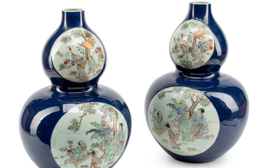 A Pair of Chinese Export Enameled Blue-Ground Double-Gourd Porcelain Vases