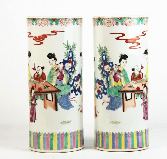 A Pair of Chinese Famille Rose Hat Vases