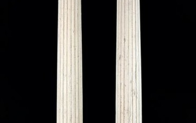 A Pair of Painted Wood Columns.