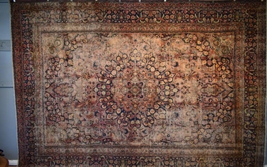 A RARE ANTIQUE CIRCA 1910s PERSIAN MASHHAD DORUKHSH CARPET. 100% HAND-SPUN WOOL. NATURAL DYES. ANTIQUE PILE. EXHIBITED AT THE 2018 T...