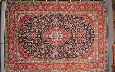 A RARE HAND KNOTTED PERSIAN KASHAN CARPET, 100% DENSE WOOL PILE IN PRISTINE CONDITION, KASHAN WEAVE WITH RARE TABRIZ DESIGN OF BOLD...