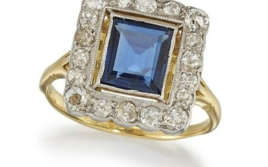 A SAPPHIRE AND DIAMOND CLUSTER RING The millegrain-set