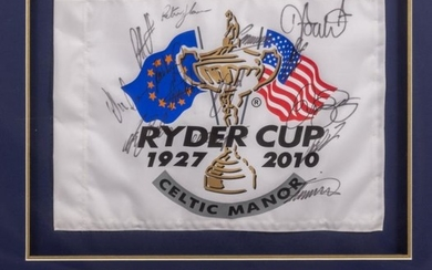 A SIGNED PIN FLAG FROM 2010 RYDER GOLF CUP...