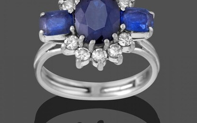 A Sapphire and Diamond Cluster Ring, by Graff, circa 1960,...