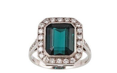 A TOURMALINE AND DIAMOND CLUSTER RING, the blue / green step...