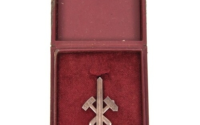 A Third Reich commemorative pin-back silver Gau badge for Es...