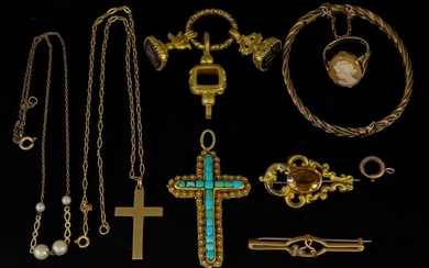 A Victorian 15ct Gold and Turquoise Set Cross Pattern...