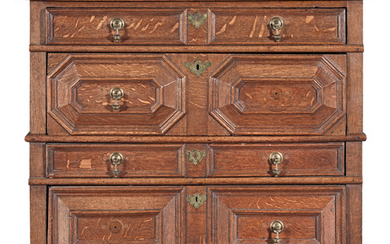 A William & Mary joined oak chest of drawers, circa 1700