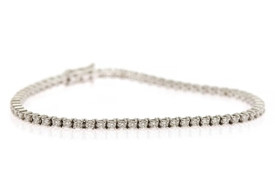 A diamond bracelet set with numerous brilliant-cut diamonds weighing a total of app. 2.10 ct., mounted in 18k white gold. I-J/SI-P1. L. app. 18 cm.