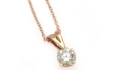 A diamond pendant set with a brilliant-cut diamond weighing a total of app. 0.30 ct., mounted in 14k rose gold. Accompanied by necklace of 14k rose gold. (2)