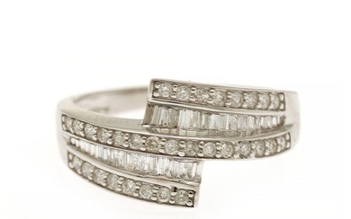 A diamond ring set with numerous brilliant-cut and trapez-cut diamonds totalling app. 0.42 ct., mounted in 18k white gold. Size 51.
