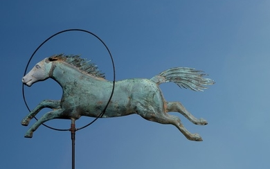 """A full-bodied molded copper and zinc """"Horse and Hoop"""" weathervane"""