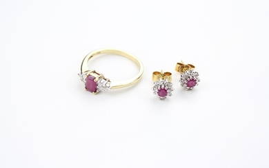 A gold ruby and diamond dress ring, along with a pair of mat...