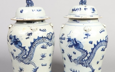 A large pair of Chinese blue and white decorative baluster s...