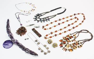 A large quantity of silver and costume jewellery, to include...