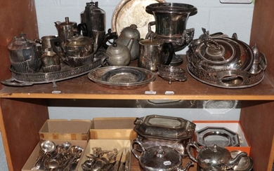 A large quantity of silver plated wares including wine-cooler, teapots,...