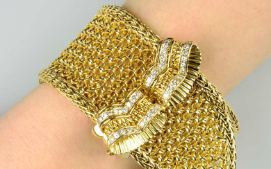 A mid 20th century 18ct gold mesh-link buckle bracelet, with brilliant-cut diamond scroll clasp.