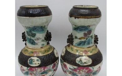A pair of 19th century Chinese Nankin crackle glazed famille...