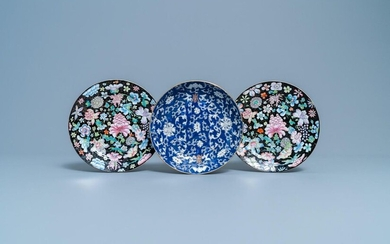 A pair of Chinese famille rose 'millefleurs' plates and a blue ground plate, 19/20th C.