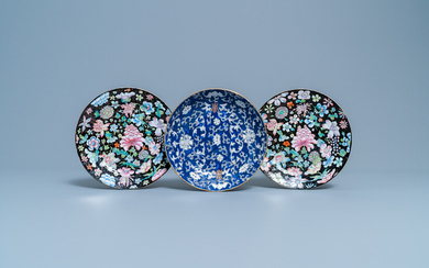 A pair of Chinese famille rose 'millefleurs' plates and a blue-ground plate, 19/20th C.