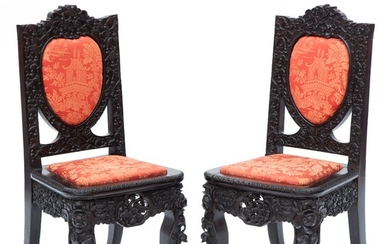 A pair of Chinese hardwood side chairs