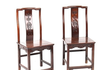 A pair of Chinese hongmu side chairs, late 19th century, the...