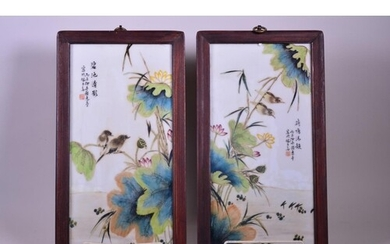 A pair of Chinese polychrome porcelain panels decorated with...