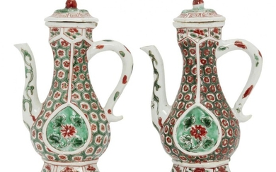A pair of Chinese porcelain hexagonal ewers and covers for...