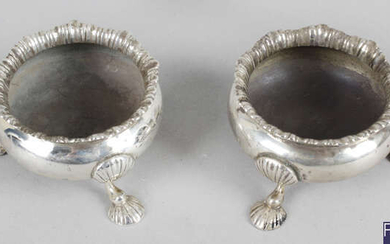 A pair of Edwardian silver cauldron salts, together with a cased modern silver condiment set.