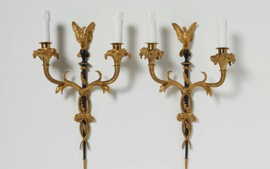A pair of Louis XVI style ormolu wall sconces