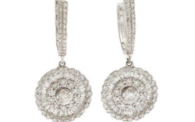 A pair of diamond ear pendants each set with numerous brilliant-cut and trapez-cut diamonds totalling app. 2.00 ct., mounted in 18k white gold. (2)