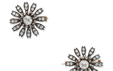 A pair of late 19th century diamond flower brooches