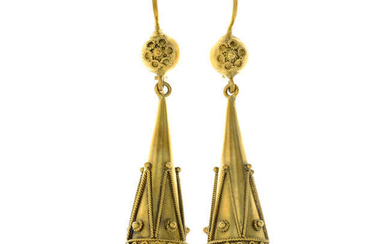 A pair of late Victorian gold cannetille drop earrings.