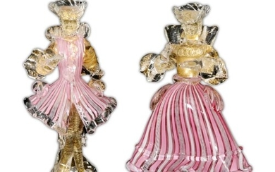 A pair of mid 20th Century Venetian Murano figures, in the m...