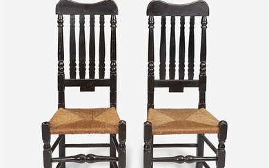 A pair of painted bannister-back side chairs New England,...