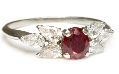 A ruby and diamond bow-shaped ring