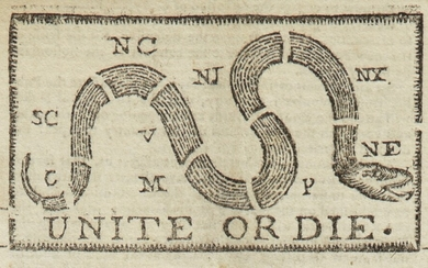 """(AMERICAN REVOLUTION)   """"Unite or Die"""" political cartoon in the masthead of The Pennsylvania Journal; and the Weekly Advertiser, No. 1675. Philadelphia: Printed and Sold by William and Thomas Bradford, Wednesday, January 11, 1775"""