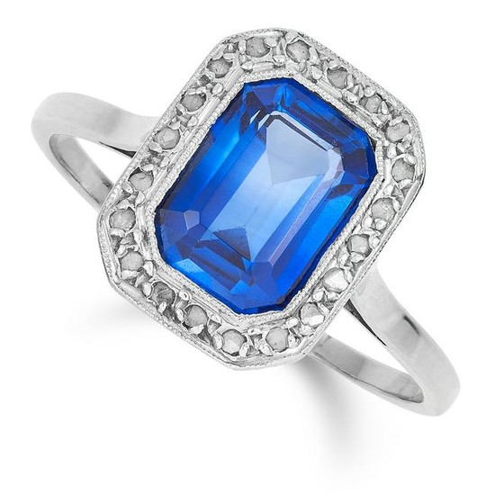 AN ART DECO SYNTHETIC SAPPHIRE AND DIAMOND CLUSTER RING