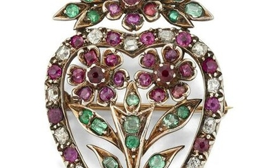 AN EARLY VICTORIAN HEART SHAPED RUBY, EMERALD AND