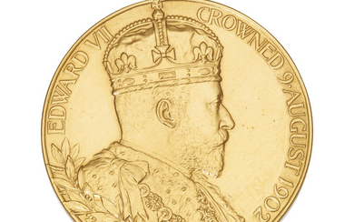 AN EDWARD VII GOLD CORONATION MEDALLION, LONDON, 1902