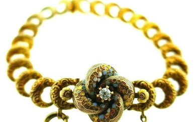 ANTIQUE 14k Yellow Gold, Enamel & Diamond Link Bracelet